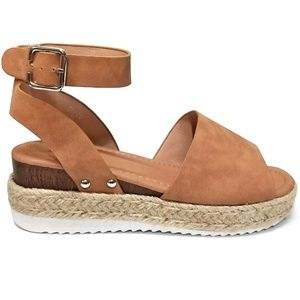 ec7a14e8bf4 AMS Shoes - New Tan Open Toe Espadrille Platform Sandals